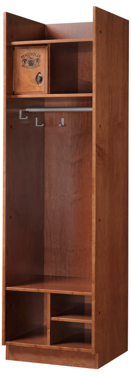 Straight Front Wood Lockers in Cinnamon Maple