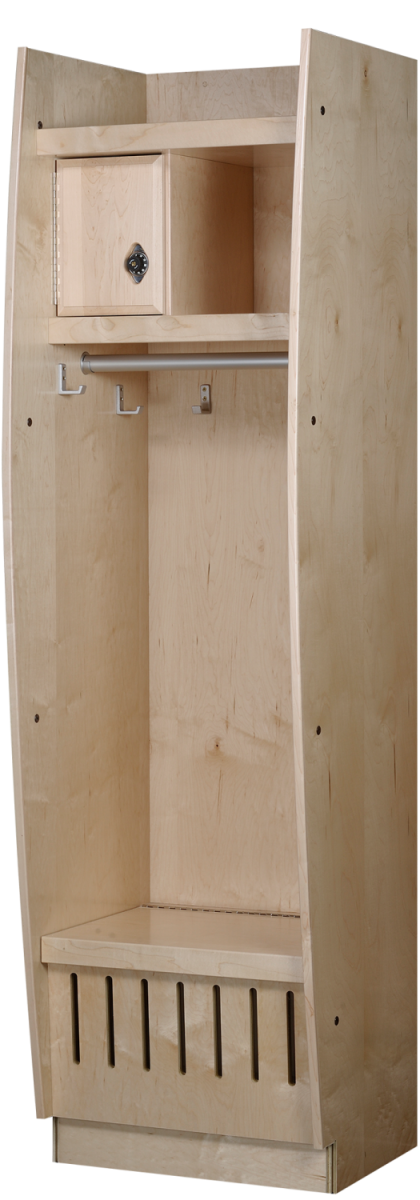 Bow Front Wood Lockers in Hardrock Maple