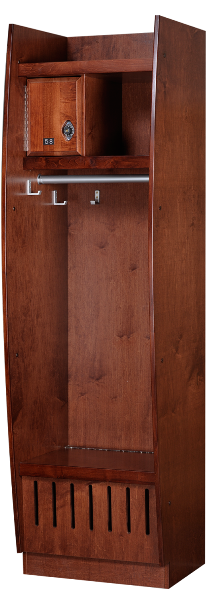 Bow Front Wood Lockers in Rosewood Maple