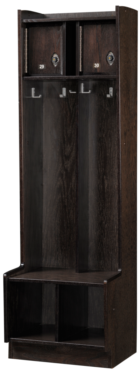 Double Open Wood Lockers in Charcoal Oak