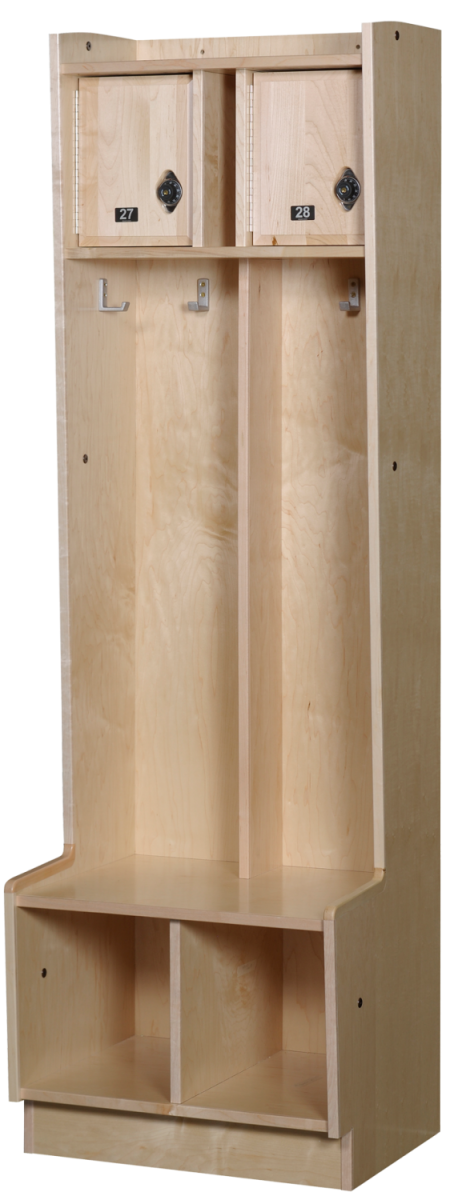 Double Open Wood Lockers in Hardrock Maple