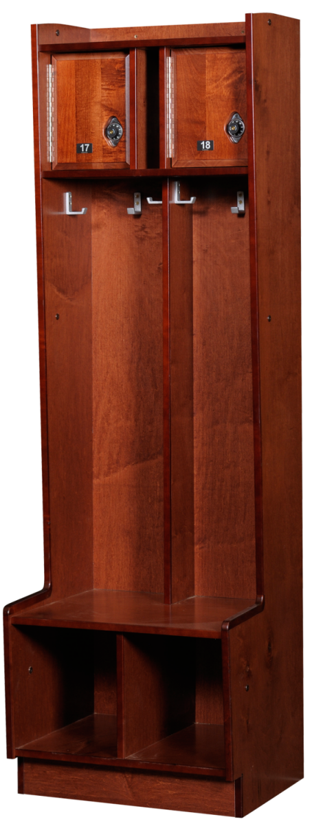 Double Open Wood Lockers in Rosewood Maple