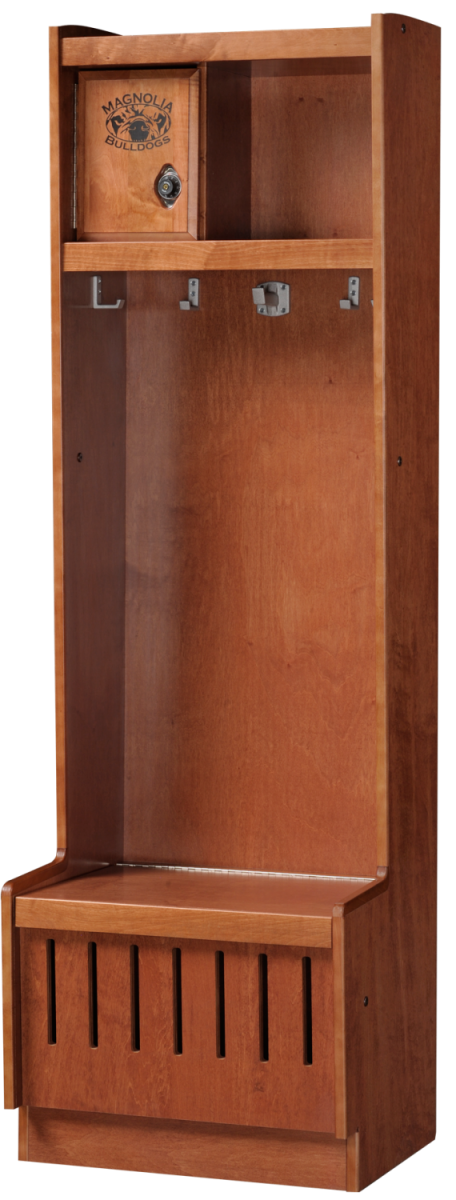 Open Wood Lockers in Cinnamon Maple