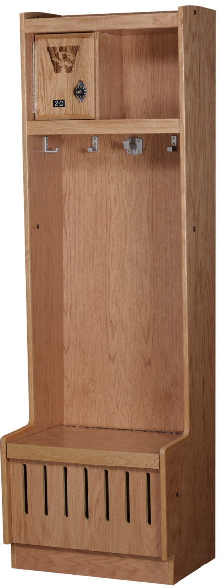 Open Wood Lockers in Autumn Oak