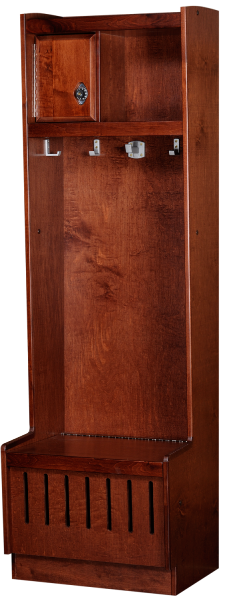 Open Wood Lockers in Rosewood Maple