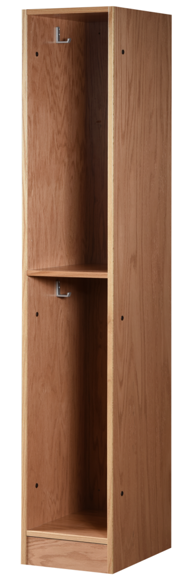 Two Tier Open Wood Locker in Autumn Oak