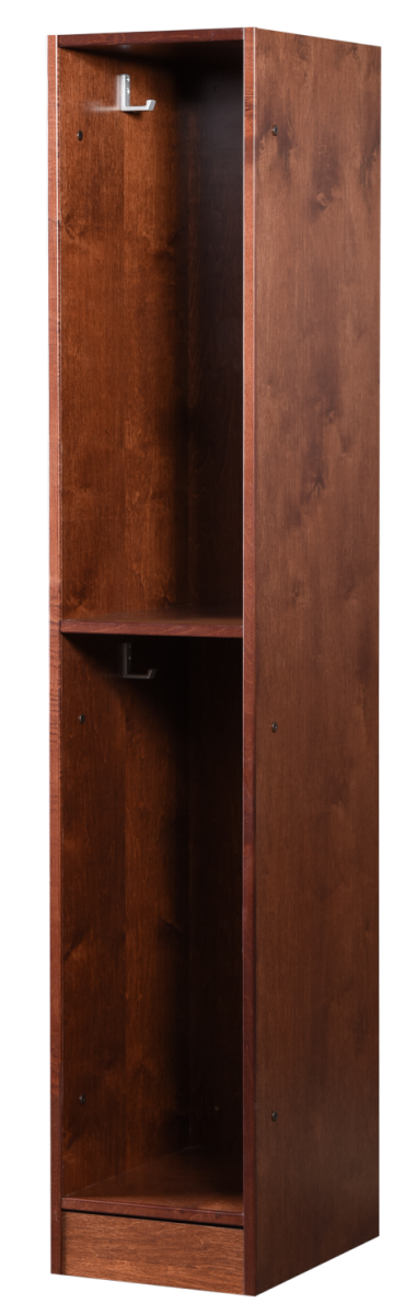 Two Tier Open Wood Locker in Rosewood Maple