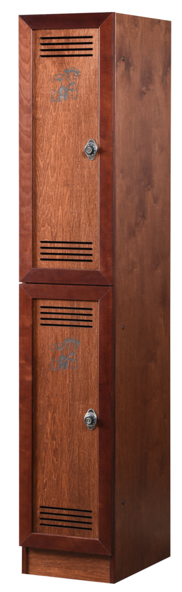Two Tier Vented Wood Lockers in Rosewood Maple