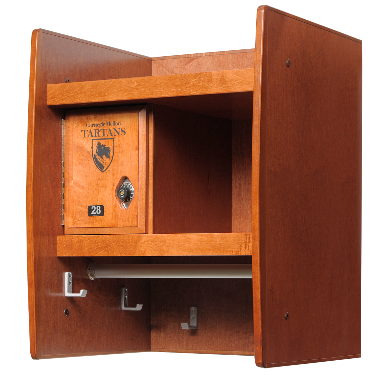 Wall Mount Wood Lockers in Cinnamon Maple