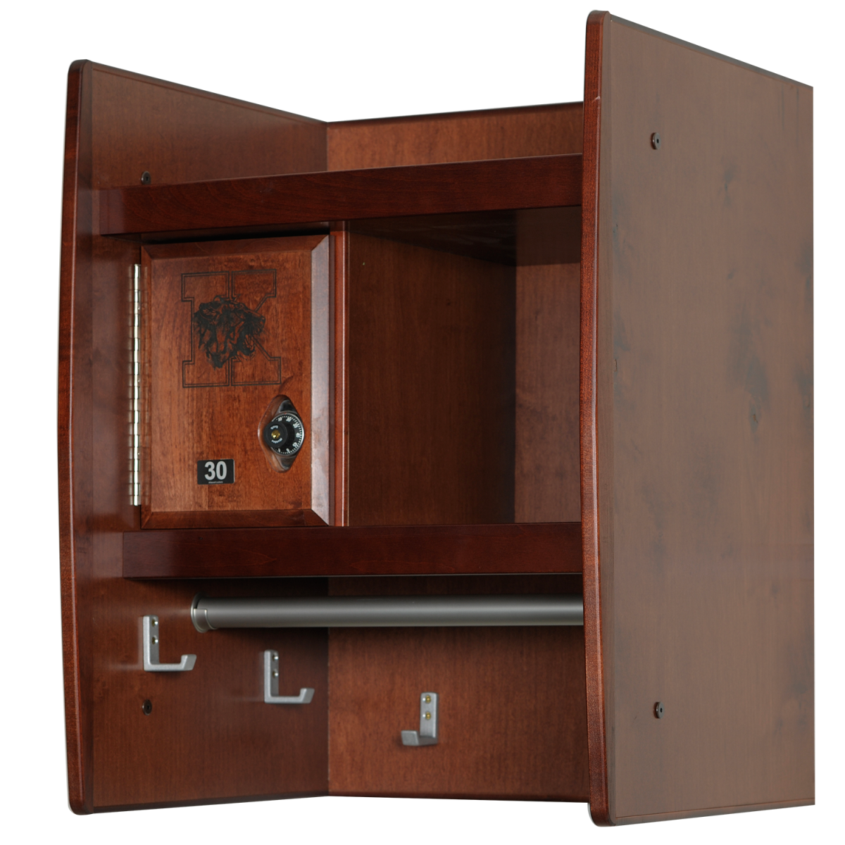 Wall Mount Wood Lockers in Rosewood Maple